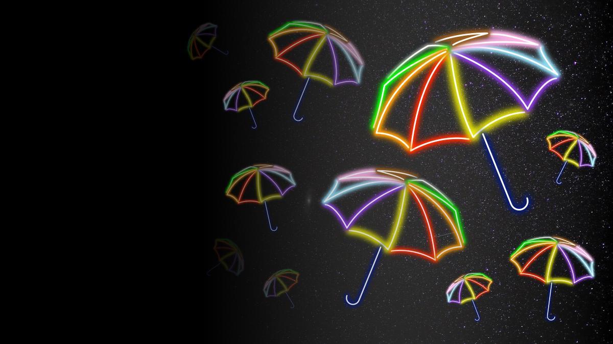 Neon-light umbrellas in a spectrum of colors.